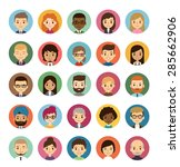 set of diverse round avatars... | Shutterstock .eps vector #285662906