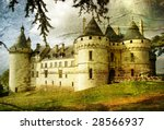medieval castle - picture in painting style - stock photo