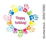 white sticker on background... | Shutterstock .eps vector #285673082