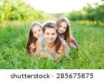 mother and her kids are having... | Shutterstock . vector #285675875