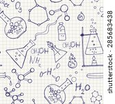 doodle style seamless science ...   Shutterstock . vector #285683438