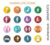 human life long shadow icons ... | Shutterstock .eps vector #285695372