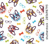 pattern dog hipster | Shutterstock .eps vector #285698795