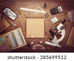 scientific accessories on the... | Shutterstock . vector #285699512