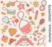 beautiful set of cute girl's...   Shutterstock .eps vector #285699578