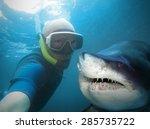 underwater selfie with friend.... | Shutterstock . vector #285735722