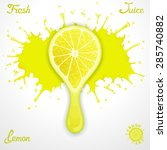 vector lemon juice splash with... | Shutterstock .eps vector #285740882