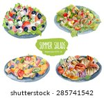 summer salads. vector... | Shutterstock .eps vector #285741542