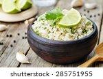 cilantro lime garlic brown rice.... | Shutterstock . vector #285751955