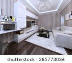modern living room with white...   Shutterstock . vector #285773036