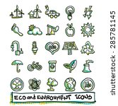 25 hand drawn eco and... | Shutterstock .eps vector #285781145