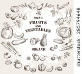 Fruits And Vegetable Set. Hand...