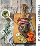 sliced medium rare grilled beef ... | Shutterstock . vector #285806186