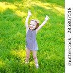 little girl child having fun on ...   Shutterstock . vector #285807518
