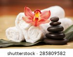 spa background. white towels on ... | Shutterstock . vector #285809582