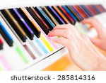 learning to play white piano... | Shutterstock . vector #285814316