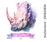 vector set of animals. rhino... | Shutterstock .eps vector #285820856