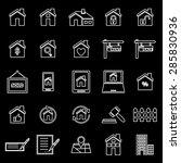 real estate line icons on black ... | Shutterstock .eps vector #285830936