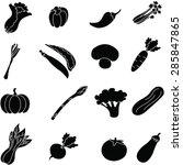 vegetable  icon set . | Shutterstock . vector #285847865