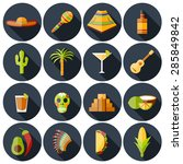 set of flat shadow icons on... | Shutterstock .eps vector #285849842