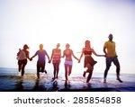 friendship freedom beach summer ... | Shutterstock . vector #285854858