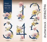 vector illustration of floral... | Shutterstock .eps vector #285862946