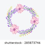 watercolor flowers frame... | Shutterstock .eps vector #285873746