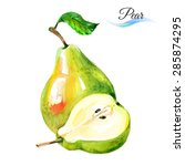 watercolor fruit pears isolated ...   Shutterstock .eps vector #285874295