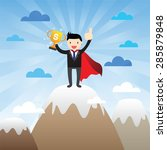 successful super businessman on ... | Shutterstock .eps vector #285879848