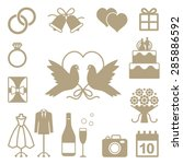 wedding related vector... | Shutterstock .eps vector #285886592