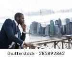 young businessman portrait on... | Shutterstock . vector #285892862