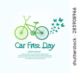 car free day concept vector... | Shutterstock .eps vector #285908966