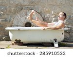 Man In The Outdoor Bathtub...