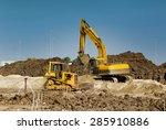 Excavator And Bulldozer Workin...