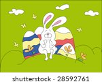 easter colorful eggs and happy... | Shutterstock . vector #28592761