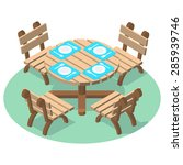 isometric furniture   dinner... | Shutterstock .eps vector #285939746