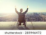happy man in wheelchair in... | Shutterstock . vector #285946472