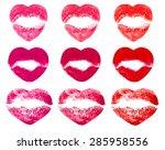 kissing lips in shape of hearts ... | Shutterstock . vector #285958556