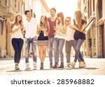 group of friends meeting in the ... | Shutterstock . vector #285968882