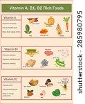 vitamin a  b1  b2 rich foods... | Shutterstock .eps vector #285980795