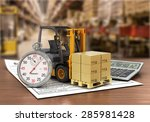 Forklift Truck With Boxes And...