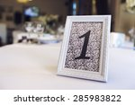 wedding table with the sign... | Shutterstock . vector #285983822
