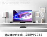 modern white shelf with flat tv ...