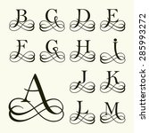 vintage set capital letter for... | Shutterstock .eps vector #285993272