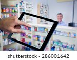 man using tablet pc against... | Shutterstock . vector #286001642
