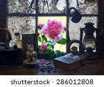 beautiful peony in old house | Shutterstock . vector #286012808