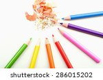 color pencils shavings on white ... | Shutterstock . vector #286015202