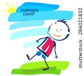 summer camp poster with happy... | Shutterstock .eps vector #286021832