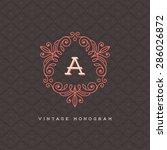 vector vintage monogram logo... | Shutterstock .eps vector #286026872