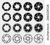 Camera shutter icons set. Aperture and photography, focus photo, vector illustration
